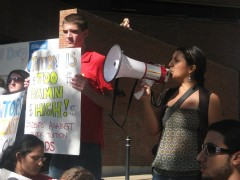 SDS member Diana Moreno speaks out against Block Tuition to the crowd