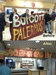 Dec. 13 protest in front of the Palermo's.pizza stand at U of W Milwaukee.