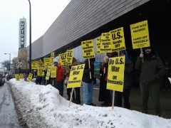 Minneapolis protest opposes U.S. war on Venezuela.