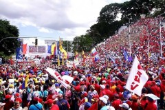 Venezuelans march to demand an end to the blockade.