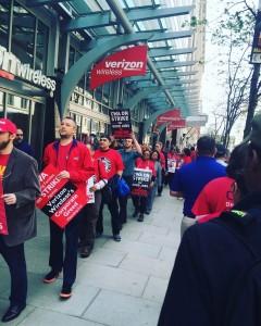 Verizon strikers walk the picket line in Washington DC