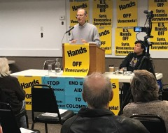 Steve Ellner speaking in Minneapolis against U.S. intervention in  Venezuela.