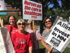 WAMM members on the picket line with striking nurses