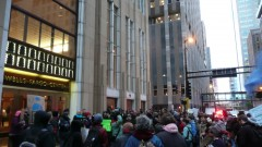 Students march on Wells Fargo in Minneapolis.