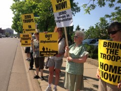Protest at MN Senator Klobuchar's office against occupation of Afghanistan.