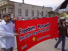 Freedom Road Socialist Organization banner at Milwaukee march