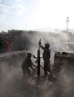 U.S. soldiers fire mortars in Afghanistan