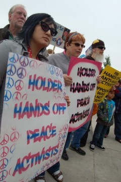 Protesters at Eric Holder visit to Minneapolis