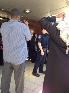 Amina Ali (center) in front of MN Federal Court, May 16.