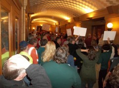 "Demonstrators against ""Right to Work"" amendment fill halls of Mn State Capitol."