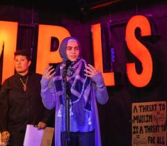 Mariam El Khatib, a leader with American Muslims for Palestine, speaking