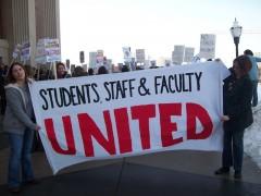 Banners outside Coffman hall