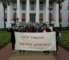Students and community activists protest the anti-BDS bill.