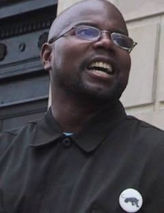 Bashir Akinyele, New Black Panther Party. Closeup of speaking