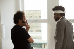 Boots Riley (left) in Sorry to Bother You.