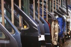 Car doors inside an auto plant.