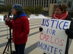 Meredith Aby speaks in solidarity with Carlos Montes