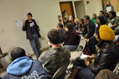 Carlos Montes speaks to a group of students at the October 3 conference.