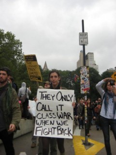 Protest sign at Occupy Wall Street, Oct. 1, 2011