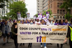 Striking members of SEIU Local 73 march for a decent contract.