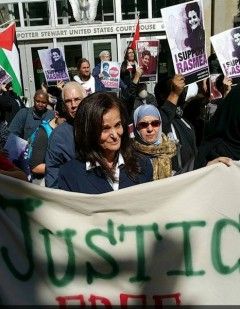 Rasmea Odeh in front of Federal Appeals Court, Oct. 14, In Cincinnati, Ohio.