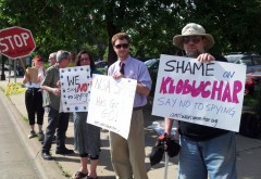 Some of the protesters at the office of Minnesota Senator Amy Klobuchar.