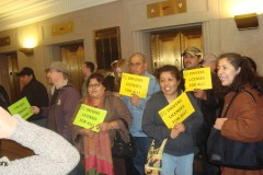 Supporters of the drivers license bill outside the hearing at the state capitol.