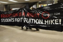 "Banner says ""Education is a Right, Students Fight Tuition Hike"""