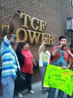 Protesters in front of TCF Bank Tower