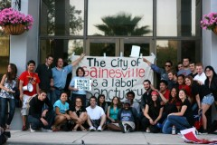 Gainesville Area Students for a Democratic Society (SDS) holding banner