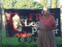 Protest demands freedom for Leonard Peltier.