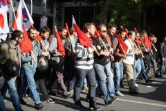 Greek workers march in December, 2015 general strike.