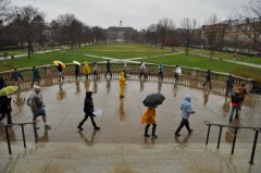 Teaching assistants rallied in a cold driving rain at the University of Illinois