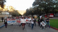 Students march against Trump and the Houston GOP debate