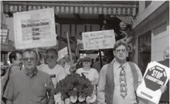 Mike Griffin, left, at a march for workers' rights