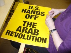 Protest sign from March 19: U.S. hands off the Arab revolution!