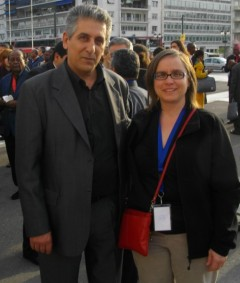 Cherrene Horazuk with WFTU Secretary General George Mavrikos.