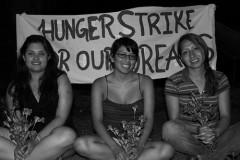 Viridiana, Loida, and Rosario on hunger strike to pressure Senator Kay Hagan to