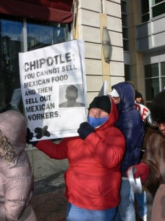 Chipotle workers and allies protest unjust firings Jan. 20 in Minneapolis