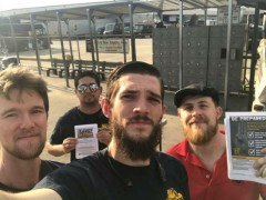 Dave Schneider with Jacksonville Teamsters leafleting their building