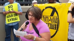 Jess Sundin speaking at Sept. 14 anti war rally.