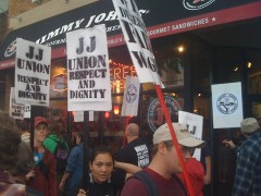 Jimmy Johns workers and supporters picket in Minneapolis on Labor Day 2010.