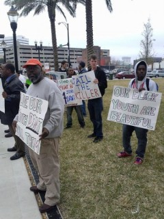 Protesters outside the courthouse.