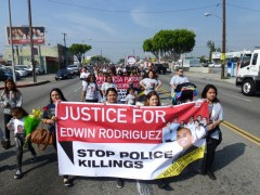 Edwin Rodriguez' funeral procession.