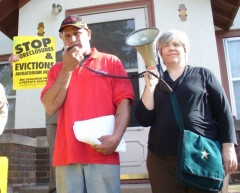 Michael Kidd with Steff Yorek of the MN Coalition for a People's Bailout