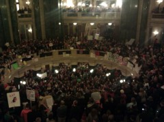 Protesters inside Wisconsin state Capitol, March 9
