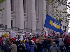 Wisconsin workers protest right-to-work legislation.