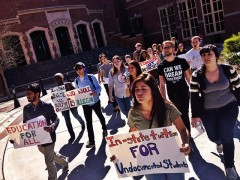 FSU students march towards the president's office to demand tuition equity.