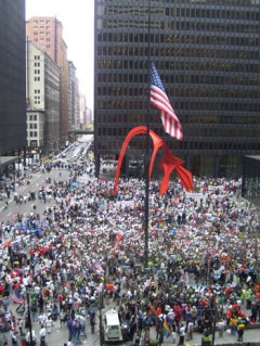 Arial shot of huge protest march