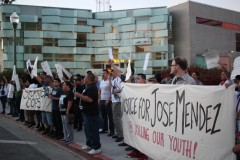 Mendez family with supporters protesting outside Hollenbeck police station.